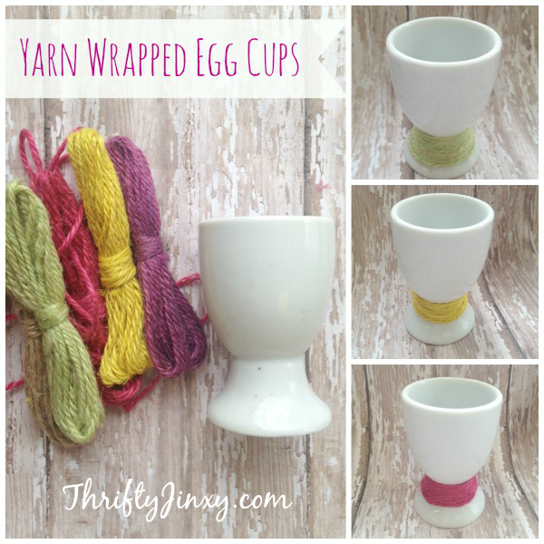 Easy DIY Yarn Wrapped Easter Egg Cup Craft
