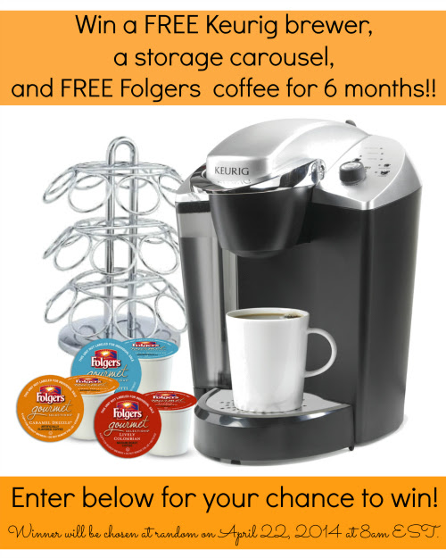 Enter to Win a Keurig Brewer, Storage Carousel and 6-Month Supply of Folgers K-Cups!