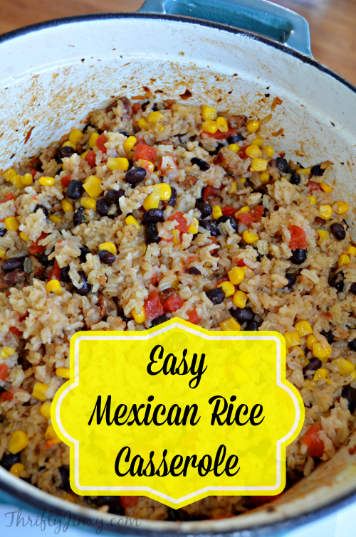 Easy Mexican Rice Casserole Recipe With Black Beans Sausage And Corn Thrifty Jinxy