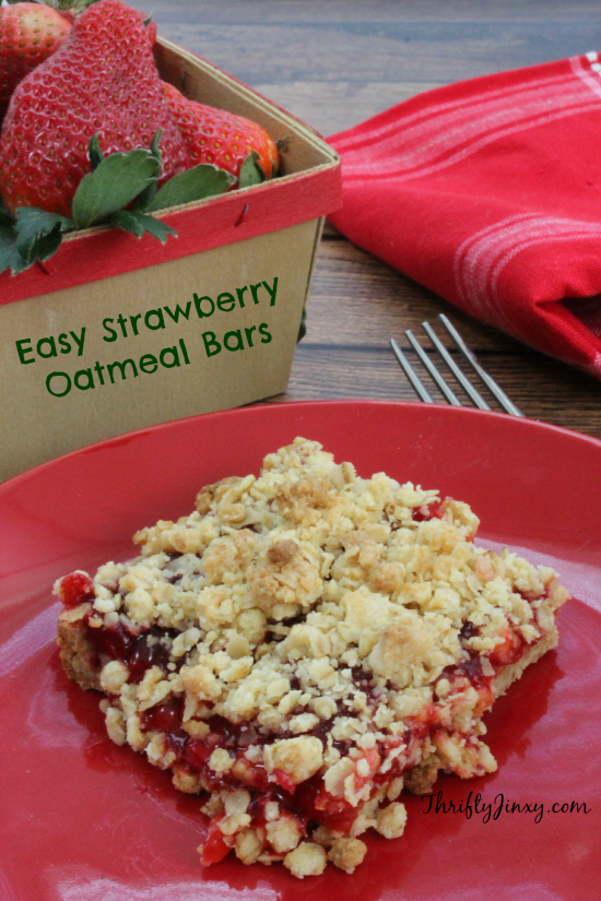 Easy Strawberry Oatmeal Bars Recipe - Thrifty Jinxy