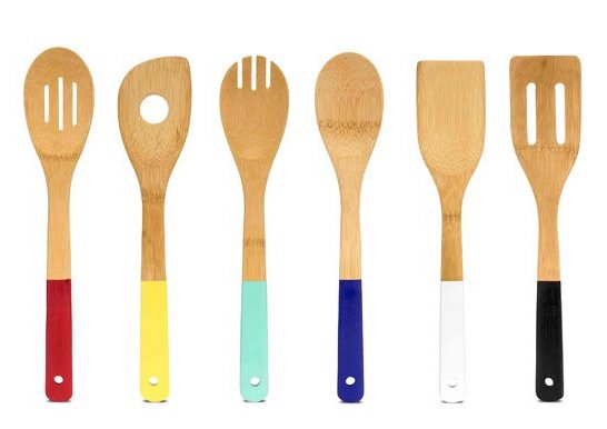 bamboo utensils with colored handles