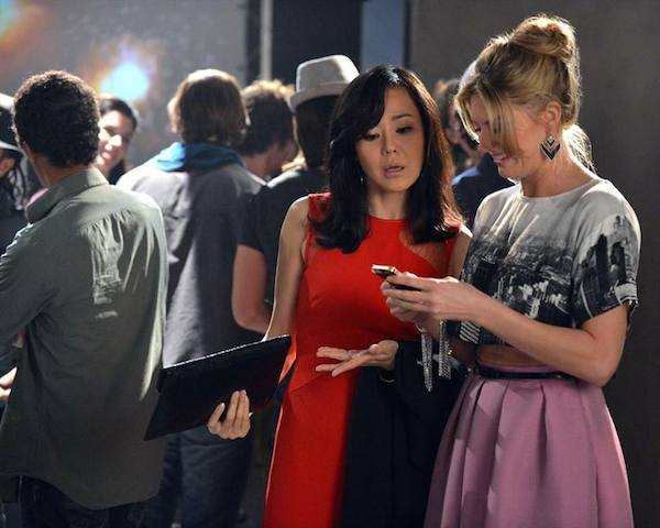 """""""MISTRESSES"""" - Yunjin Kim (as """"Karen Kim"""") and Jes Macallan (as """"Joss Carver"""") in the costumes by Roemehl"""
