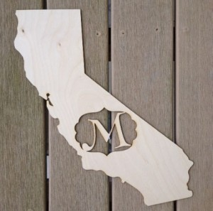 Gorgeous Monogrammed Wooden State Cut Outs only $15.99!
