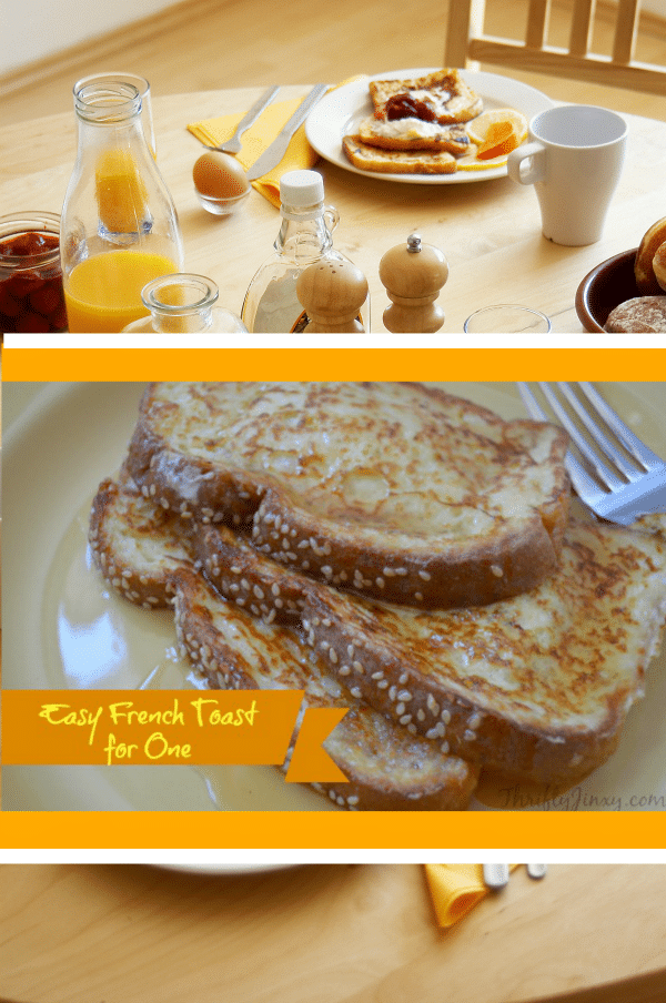 This easy French toast for one recipe is quick and simpleto make - about 5 minutes from start to finish - and is perfectly sized to feed ONE person for breakfast (or lunch or dinner!)