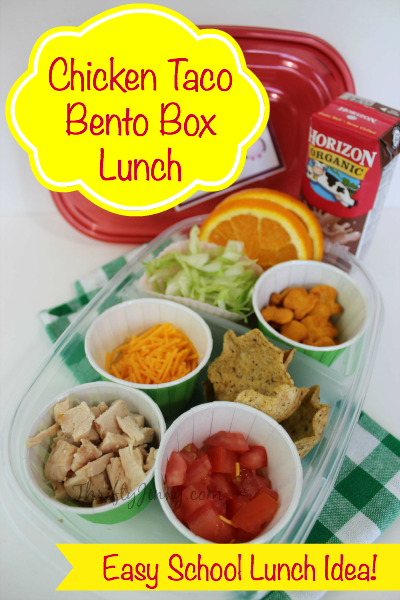 Chicken Taco Bento Box Lunch with Printable Lunchbox Notes
