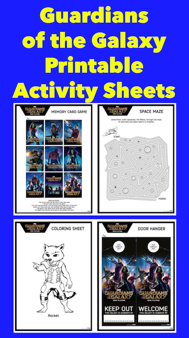Guardians of the Galaxy Printable Activity Sheets