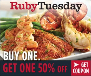 Try Ruby Tuesday's New Menu with a B1G1 50% Off Coupon + Reader Giveaway