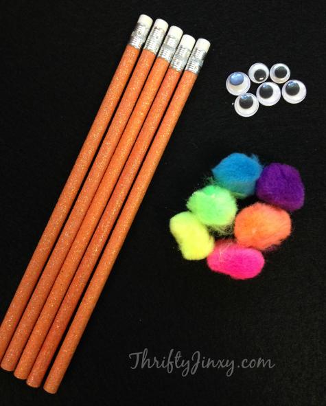 DIY Spooky Monster Pencils Craft Supplies
