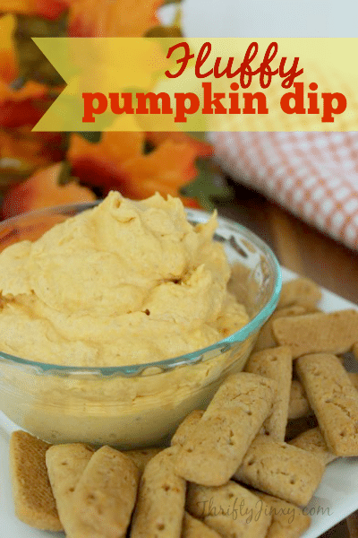 This Fluffy Pumpkin Dip recipe is easy to make with only 4 ingredients. You can use it to dip fruit, graham crackers, pretzels – you name it!
