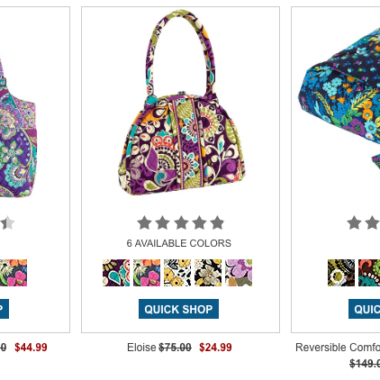 00ffcff57c26 Vera Bradley Online Outlet Sale Up to 75% Off!