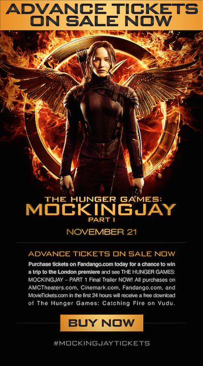 The Hunger Games: Mockingjay Advanced Tickets + FREE Movie Download + Sweepstakes