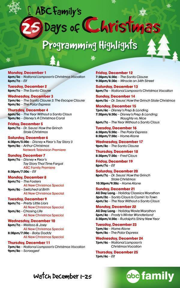 Abc 25 Days Of Christmas Schedule 2020 Abc Family 25 Days Of Christmas 2020 Printable Schedule | Rybwwc