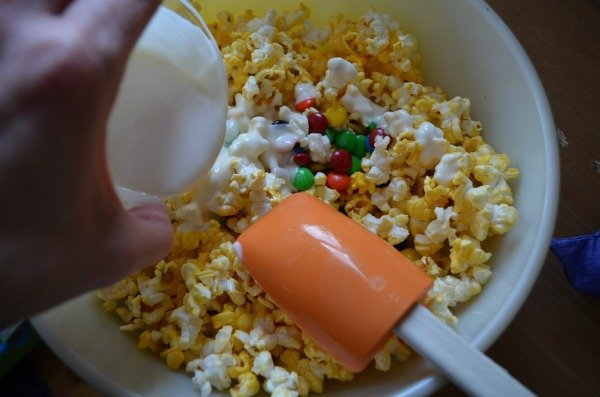 M&M's White Chocolate Popcorn Mixing