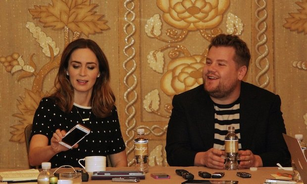 Disney's INTO THE WOODS the Baker and his Wife, played by James Corden and Emily Blunt.