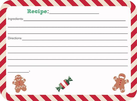 Printable Christmas Recipe Card