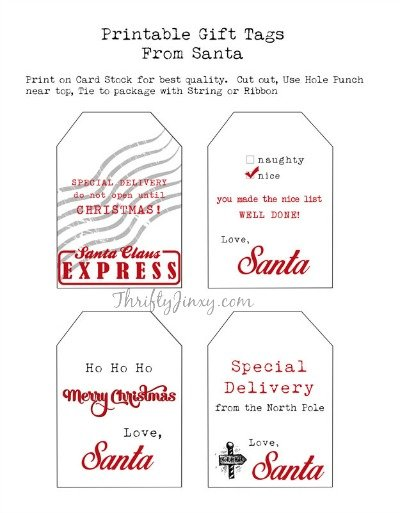 Printable santa gift tags and other free santa printables printable santa gift tags negle
