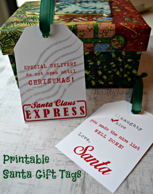 Printable Santa Gift Tags and Other FREE Santa Printables - Thrifty ...