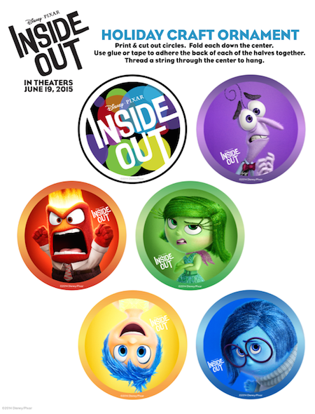 INSIDE OUT Printable Holiday Ornaments and Activity Sheet