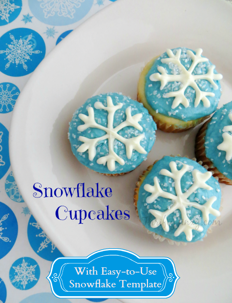 Snowflake Cupcakes Recipe with Printable Snowflake Template