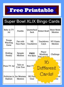 2015 Super Bowl Bingo Cards – FREE Printable!