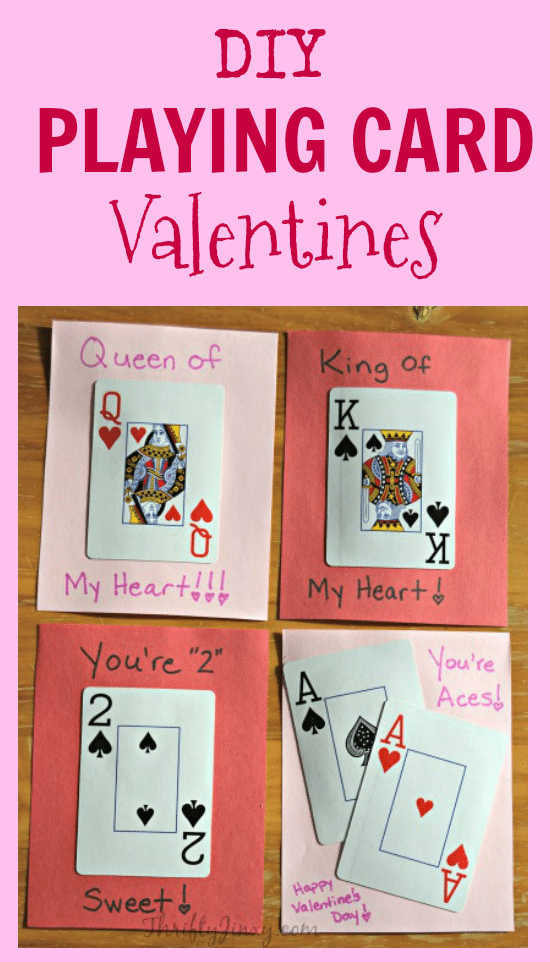 DIY Playing Card Valentines are fun to make using a deck of ordinary playing cards.
