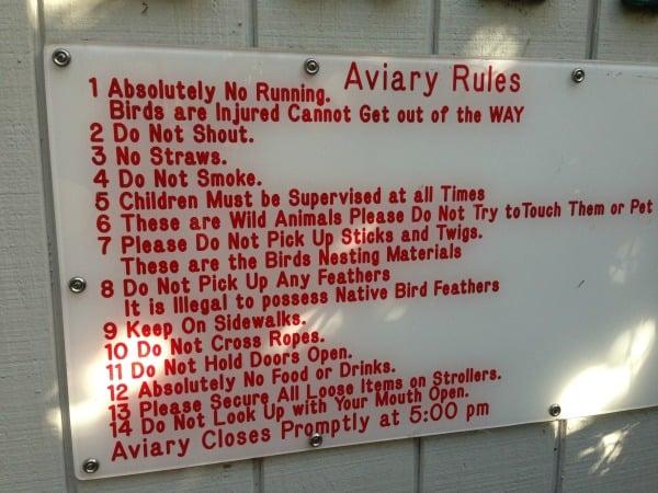 Flamingo Gardens Aviary Rules Sign