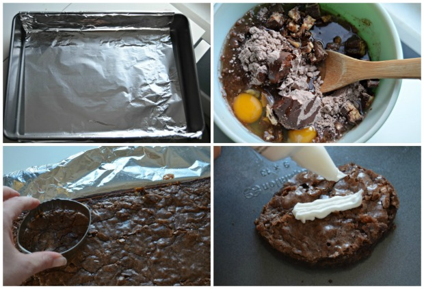 Football Snickers Brownies Process