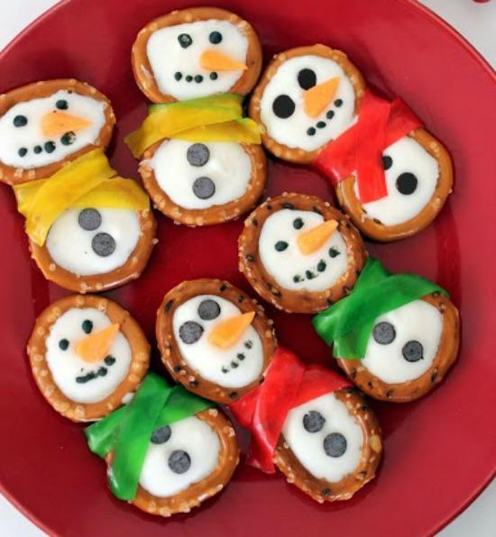 Snowman Pretzels Recipe for Winter