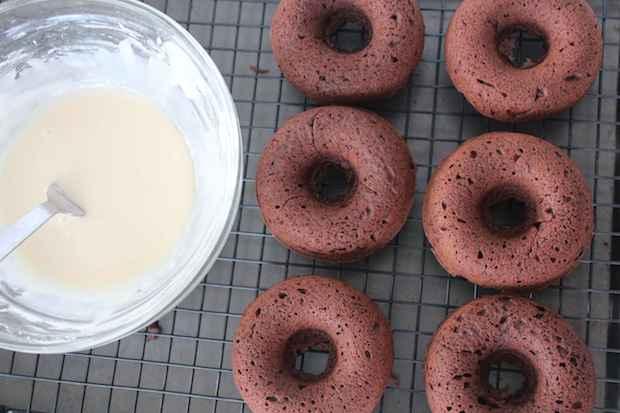 Chocolate Baked Guinness Donuts Before Irish Cream Glaze