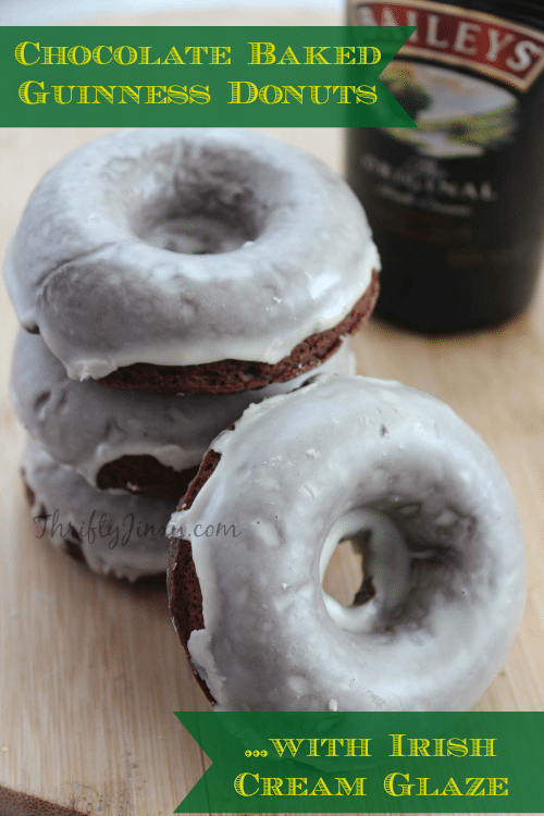 Chocolate Baked Guinness Donuts Recipe with Irish Cream Glaze