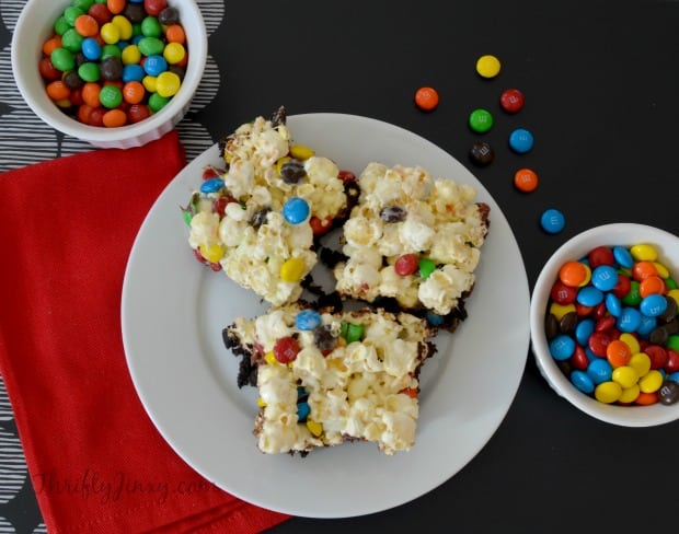 Movie Night Brownies with Popcorn and M&Ms