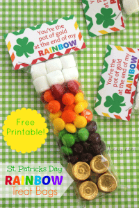 St. Patricks Day Rainbow Treat Bags with FREE Printable