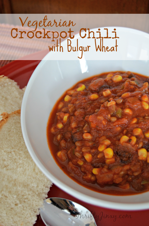 Vegetarian Crockpot Chili with Bulgur Wheat Recipe