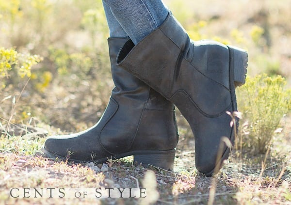 Short Distressed Black Boot & FREE Black Knit Boot Cuffs Only $22.50 Shipped