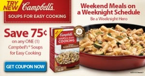 Campbell's Soups for Easy Cooking Printable Coupon and Recipes