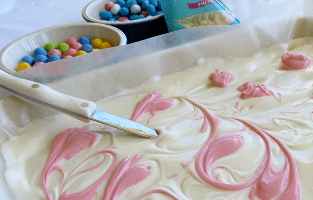 Easter Candy Macadamia Bark Recipe Swirls