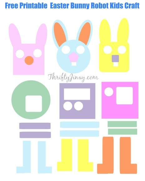 FREE Printable Easter bunny Robots Kids Craft