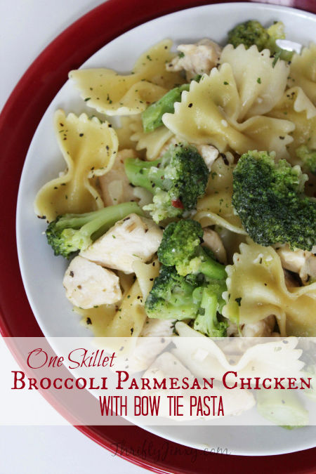 One Skillet Broccoli Parmesan Chicken with Bow Tie Pasta Recipe