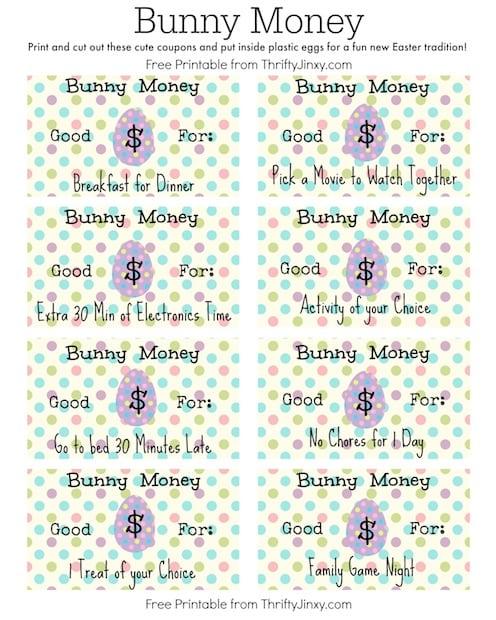 Easter Bunny Money Printable