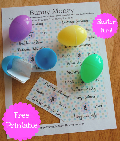 Easter Egg Bunny Money Printable