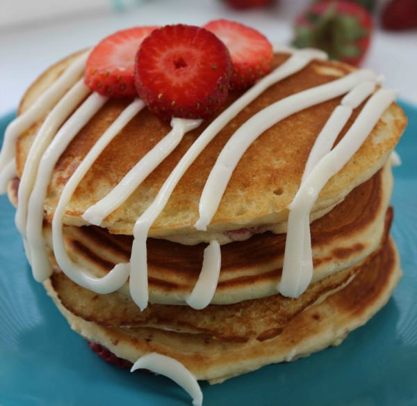 Strawberry Pancakes Recipe with Cream Cheese Glaze