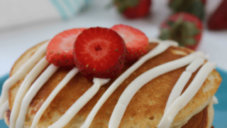 Strawberry Pancakes with Cream Cheese Glaze