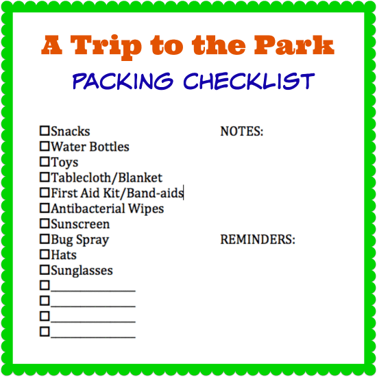 Trip To The Park Packing Checklist