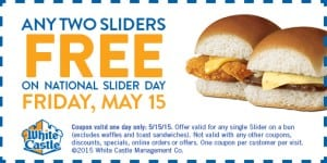 Any Two Sliders FREE at White Castle on Friday, May 15th!