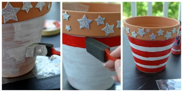 4th of July DIY Flower Pot Step by Step