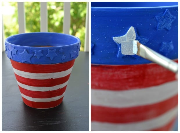 DIY 4th of July Flower Pot Painting