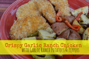 Crispy Garlic Ranch Chicken Recipe with Garlic Ranch Potatoes and Peppers