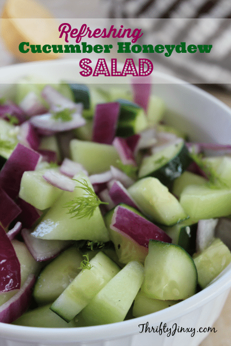 This refreshing Cucumber Honeydew Salad Recipe is perfect to cool-down on a hot summer day and a perfect addition to any backyard barbecue or poolside meal.