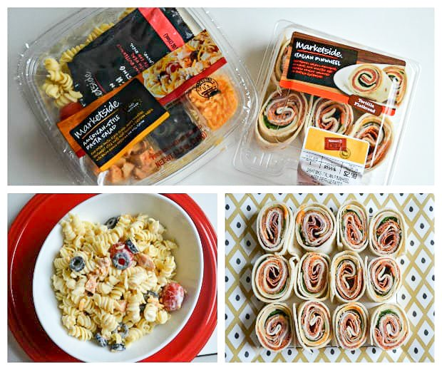 pinwheels and pasta salad