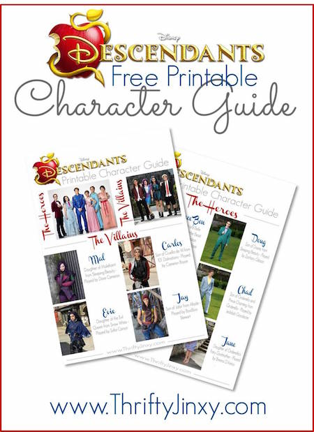 Disneys Descendants Printable Character Guide Thrifty Jinxy
